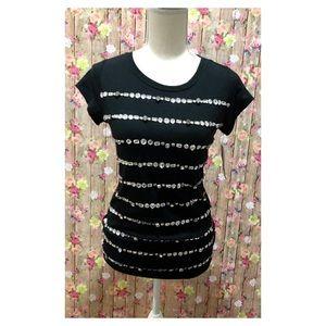 Nwt INC Crystal Studded Black Top Small